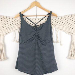 ⭐️ PrAna gray striped workout top size Large